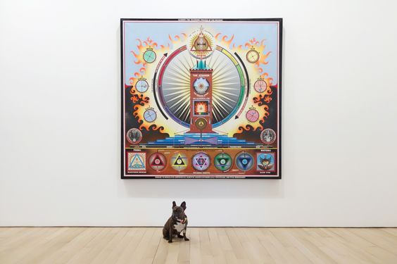 """What color is my aura? Paul Laffoley """"Alchemy: The Telenomic Process of the Universe,"""" 1973 in All Watched Over curated by Tina Kukielski at James Cohan Gallery. June 25 - August 07, 2015 To see more..."""