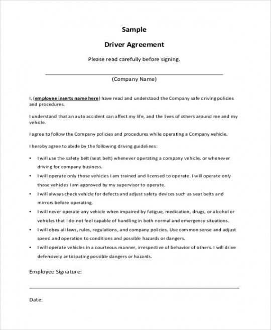 Free Independent Contractor Driver Agreement Sample Contract
