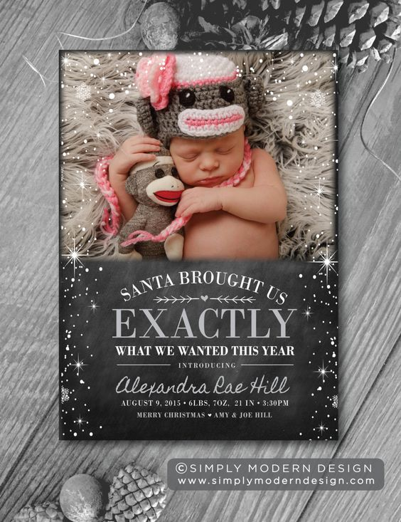 Birth announcement holiday chalkboard christmas new years – New Years Birth Announcements
