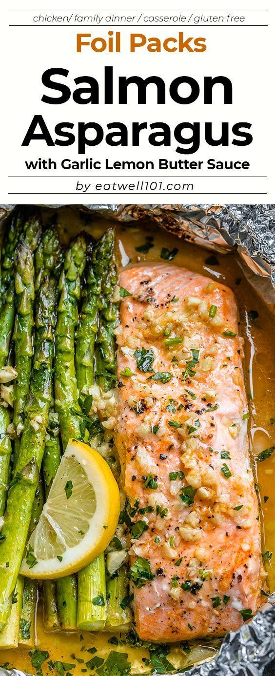 Salmon and Asparagus Foil Packs with Garlic Lemon Butter Sauce