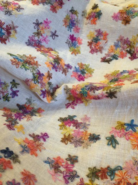 Sophie Digard embroidered scarf -- linen with wool embroidery