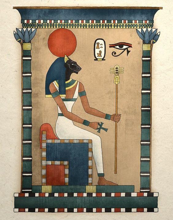 Impresión del arte egipcio antiguo diosa Bastet