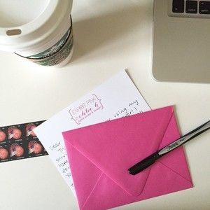 Sending a little #snailmail love this morning before the Monday #workgrind kicks in. #happymonday #monday #pink #exhibitpink #productive #coffee