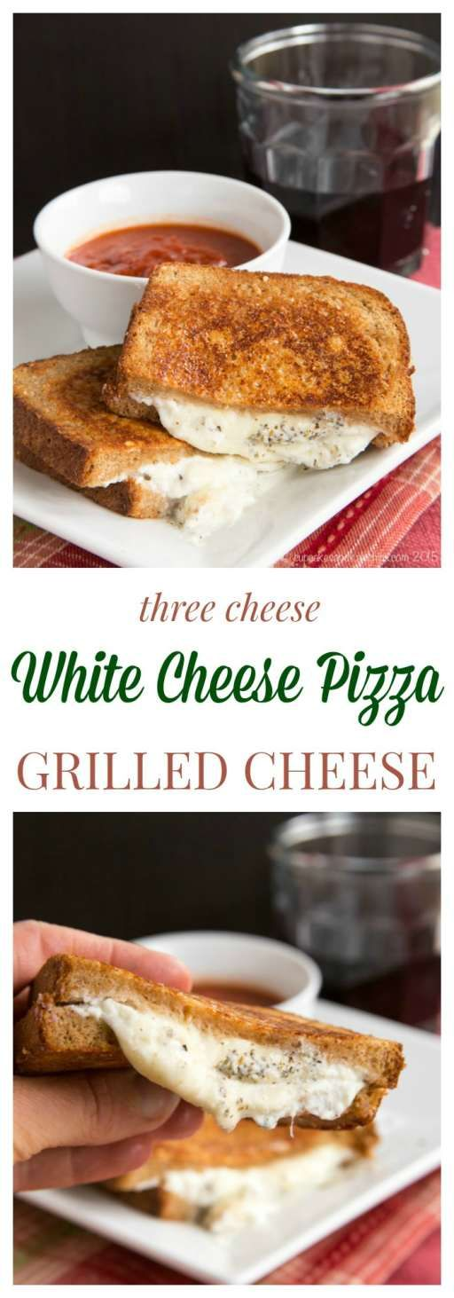 Three Cheese White Cheese Pizza Grilled Cheese combines the cheesy goodness of white pizza and the classic comfort food sandwich in one. No need to order delivery or make pizza crust!   cupcakesandkalechips.com   vegetarian