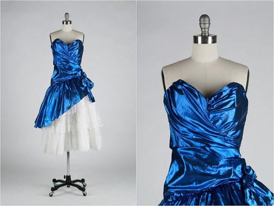 Vintage 1980s Dress Blue Metallic Tulle  by millstreetvintage, $45.00
