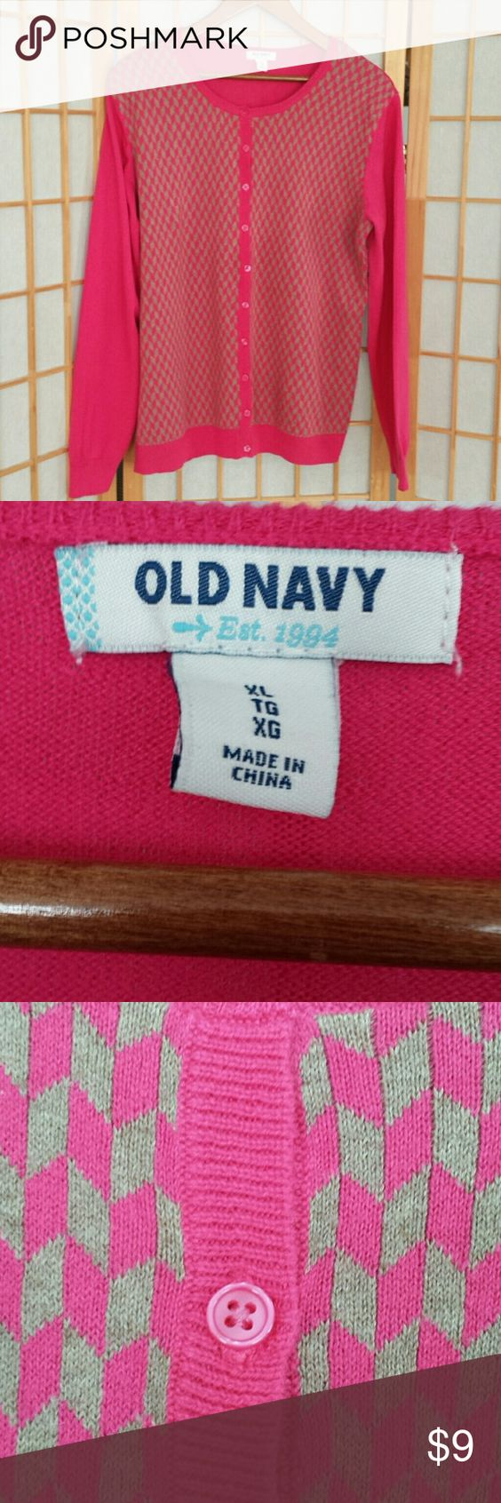 Old Navy  sweater  XL / TG 100 % cotton  Fushia  and tan Old Navy  Sweaters Cardigans