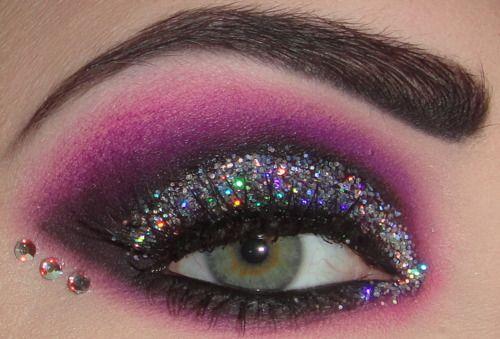 Party purple glitter eyes