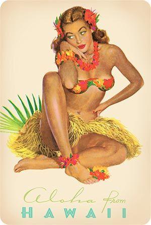 Hawaiian Hula Maiden - Vintage Postcard