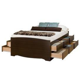 Prepac Captain S Espresso Queen Platform Bed With Storage Ebq 6212