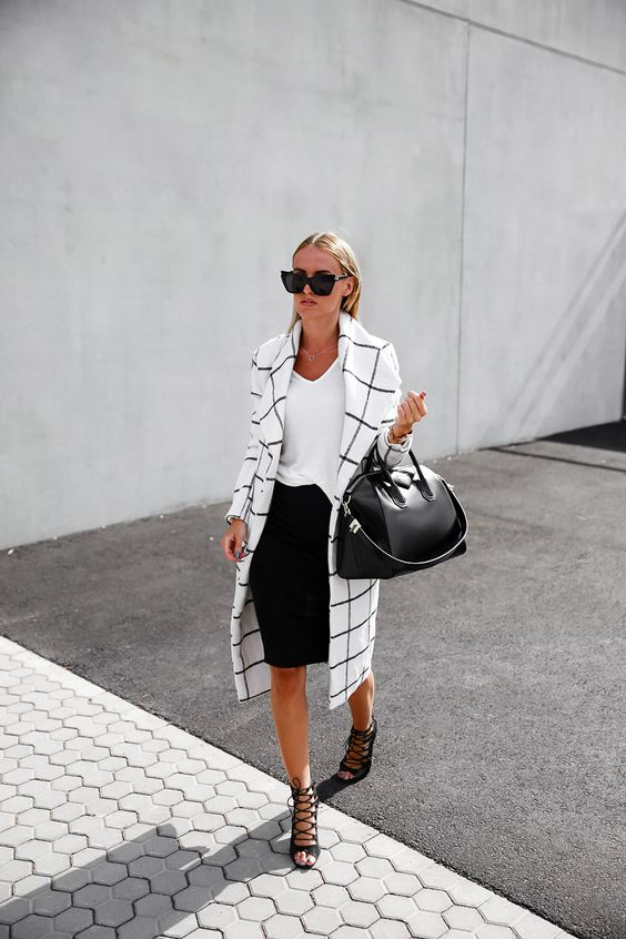 Statement coat is a Blair Longline Coat White, t-shirt, pencil skirt, lace up heels and Givenchy bag: