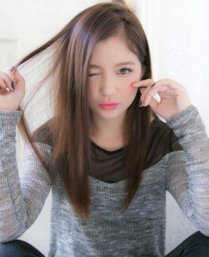 小顔見せなら前髪なしのアレンジ 長い前髪 アレンジ ロング 縮毛