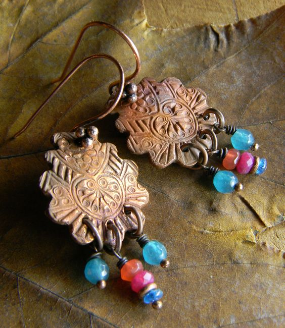 Jewel tone copper metal clay earrings by Gloria Ewing.