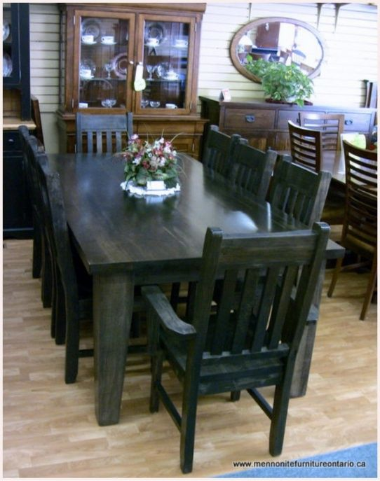 Wormy Maple Mennonite Table With Wormy Maple Slat Back Chairs