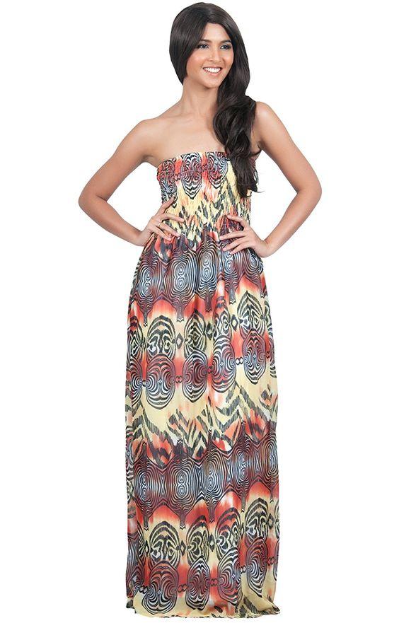 KOH KOH Womne&-39-s Sleveless Tube Top Summer Sun Beach Maxi Dress ...