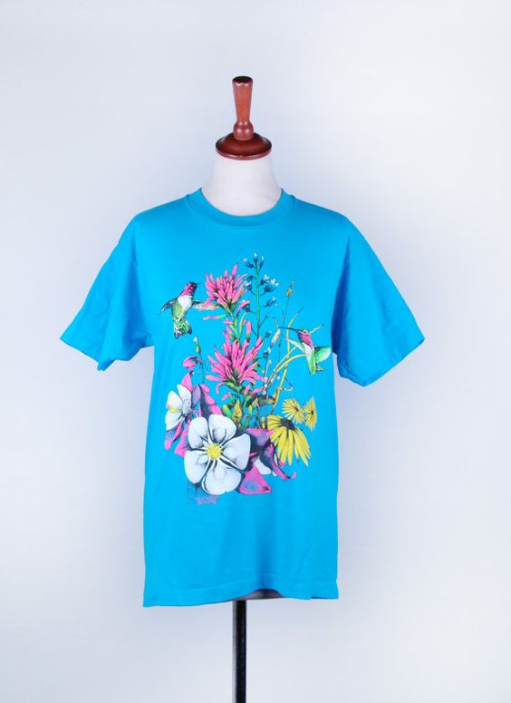 Hummingbird and Flowers Tee  Puff Paint T-Shirt by DesertMoss