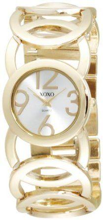 XOXO Women's Silver Dial Gold-tone Open Link Bracelet Watch