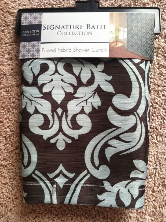 New! Teal, Brown Damask Shower Curtain, 70X72 | Shower curtains ...
