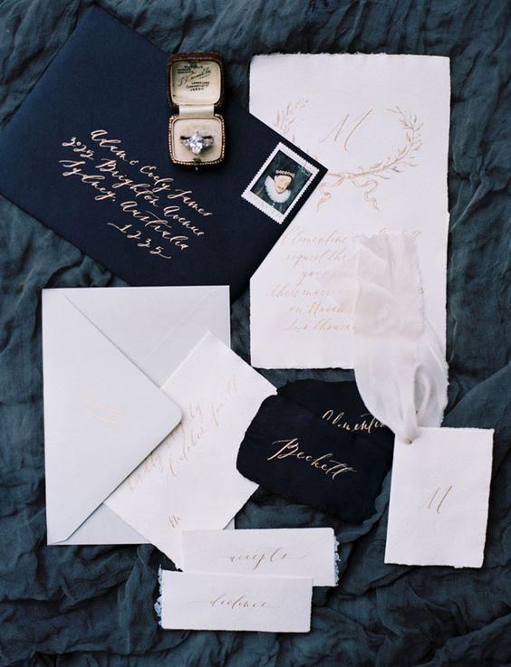 Dark blue invitation suite