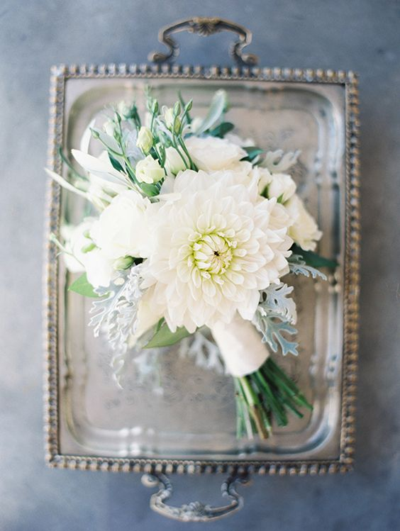 white dahlia and lisianthus bouquet with dusty miller by Lushka