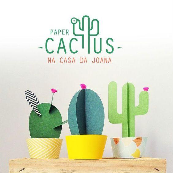 Manualidad de Cactus de cartulina para centros de mesa de fiesta mexicana. #FiestaMexicana