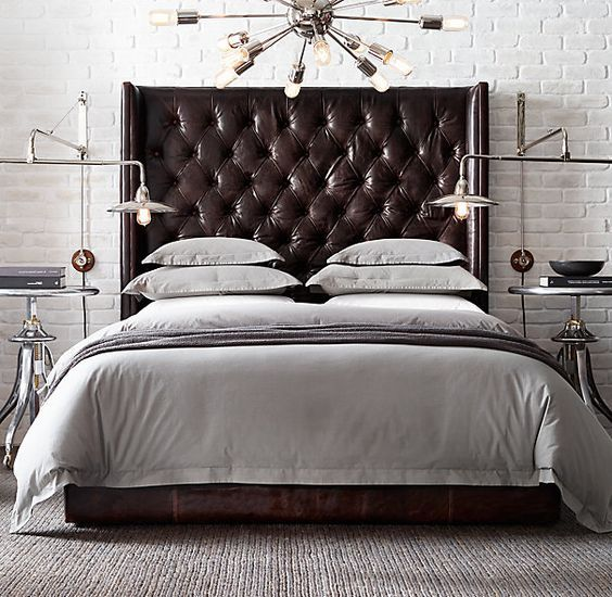 36 Chic And Timeless Tufted Headboards Leather Platform Bed Leather Headboard Bedroom Leather Bed Bedroom ideas brown headboard