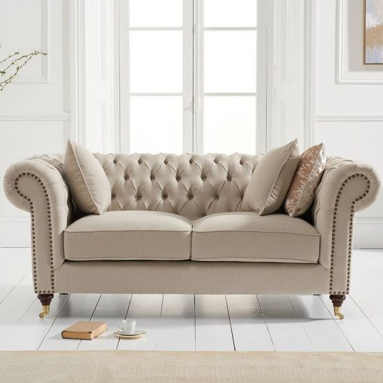 Holbrook Chesterfield 2 Seater Sofa In Beige Linen Chesterfield Sofa Living Room Fabric Sofa Uk Best Leather Sofa