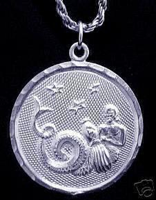 1988 AQUARIUS Pendant Charm Silver Zodiac Water Star