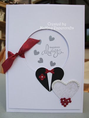 First time visit to Margaret's site and what a lovely wedding card.  Stampin' Up! of course.