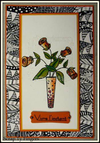 carte sur le thème fleurs de coco chez katzelkraft, et j'ai gagné ! youpi !