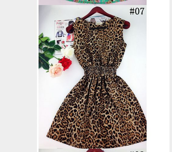 CUTE! ladies plus size  2XL Leopard Print) New  Bohemian Sleeveless Printed Summer  Dress.. SALE $14.69 freeship