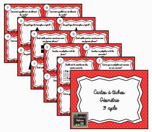 Les créations de Stéphanie : 20 cartes à tâches de géométrie pour le 3e cycle