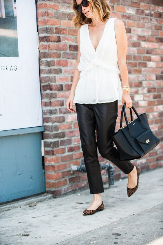 WHITE TOP + LEATHER PANTS