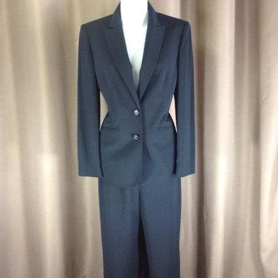 "Jones New York suit Classic suit in black textured poly fabric. Both jacket and pants are fully lined. Jacket measures 28.5"" shoulder to hem,  19"" across bust front. Pants have simple tab and zip closure, inseam measures 32"". Excellent condition. Jones New York Jackets & Coats Blazers"