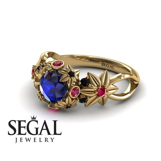 Unique Flower Engagement Ring 14K Yellow Gold by SegalJewelry