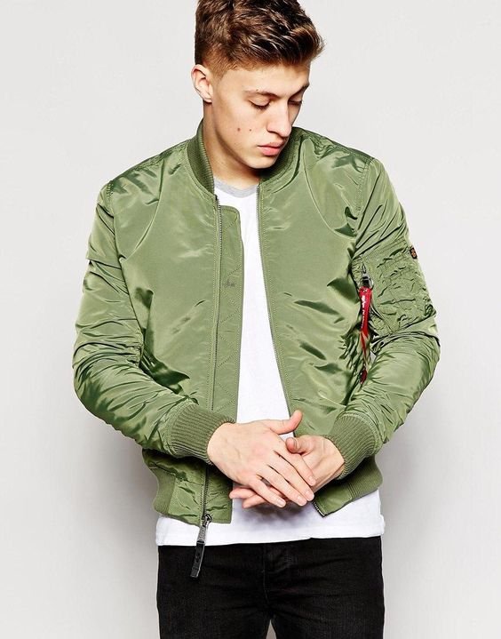 Green alpha industries ma1 bomber jacket slim fit – New Fashion ...