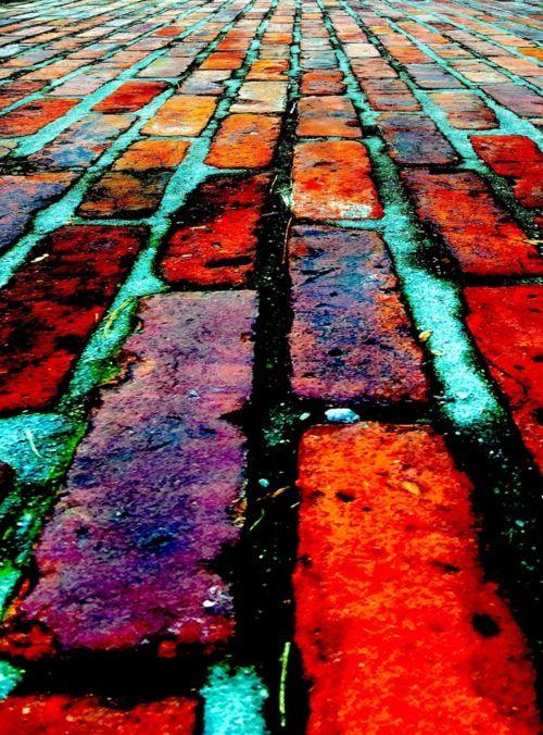 The red brick path at the Morris-Jumel Mansion, Harlem, New York.