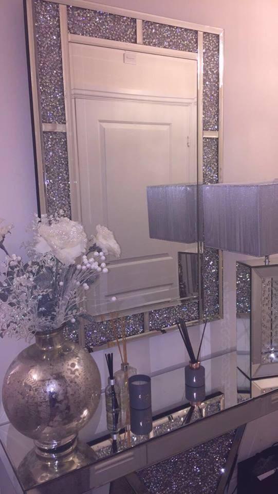 Diamond Crush Mirrored Brick Mirror Hos Home Mirrored Bedroom Furniture Glamorous Decor Mirrored Furniture Decor