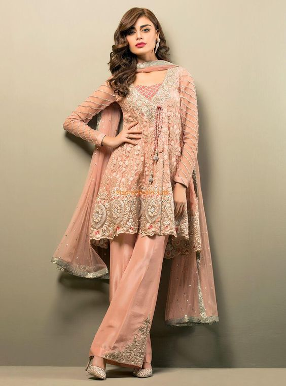 light pink andrakha style short frock with embroidered trouser