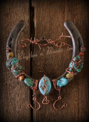 Beaded wire wrapped horseshoe art bling for How to decorate horseshoes