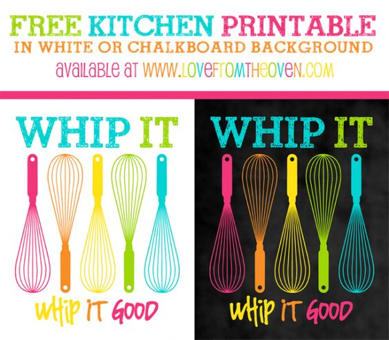 Free printable kitchen sign in white or chalkboard background available at www.lovefromtheoven.com