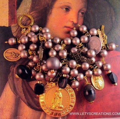 Vintage and New Catholic St. Martin de Porres Religious Medals Charm Bracelet www.letyscreations.com