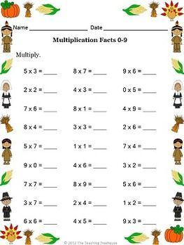 math worksheet : thanksgiving multiplication  multiplication worksheets and  : Multiplication Worksheets With Answers