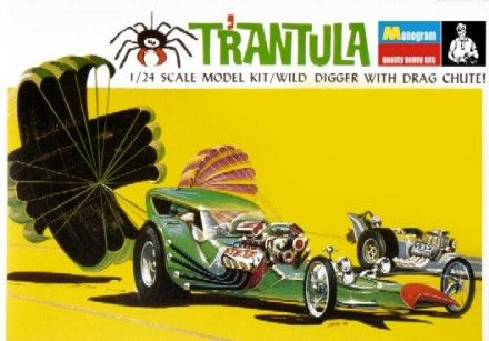 "Revell-Monogram  RMX 4298  Tom Daniel's T'Rantula Dragster Plastic Model Kit     Length: 8-3/4""  Parts: 66           		   Another wacky wonder from Tom Daniel! Show-stopping in appearance, the Tom Daniel T'Rantula is long, low and mean."
