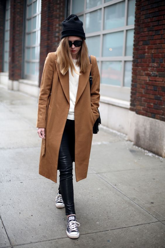 camel coat and leather pants via fashionsquad.com