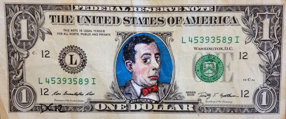 An art project by Donovan Clark, painting on money