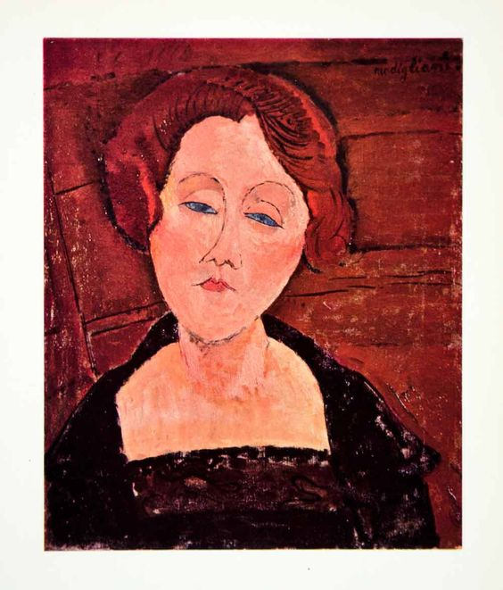 1958 Color Print Amedeo Modigliani Girl Blue Eyes Red Hair Portrait Art XAPA1: