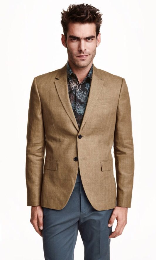 Brown Blazer Jacket, Grey Pants, Black Floral Shirt | Men's ...