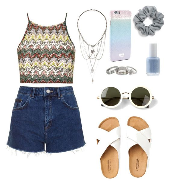 """""""Slightly hippie ✌️"""" by fifi19 ❤ liked on Polyvore featuring Topshop, The Row, Matthew Williamson, Natasha Couture, Essie and Boom Things"""