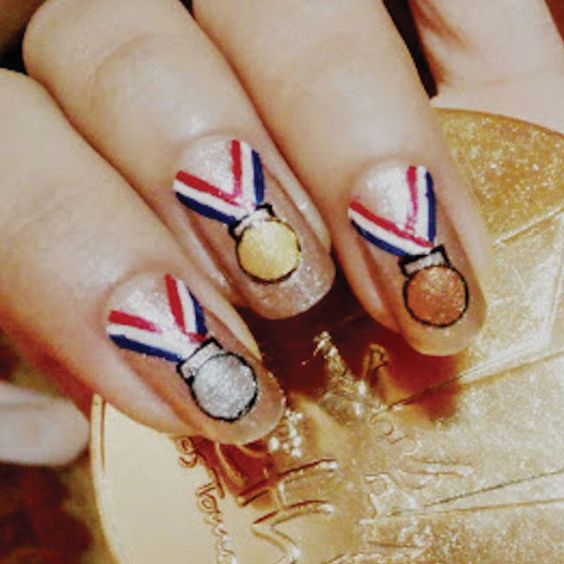 Show your support by creating this fun medal design. Bonus points if they match the official design like these 2012 London nails.: