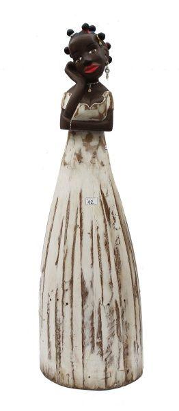 Lote: 12  Esculturas  MG ARTES PRADOS - MINAS (arte popular) - Nega Fulo, estatueta mineira, em madeira pintada em policromia, assinada, alt. 84cm